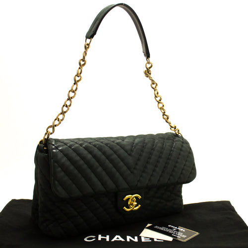 CHANEL Chevron V-Stitch Chain Shoulder Bag Quilted Flap Glitter m74