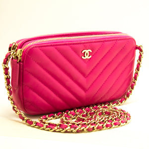 CHANEL Hot Pink Wallet On Chain WOC Double Zip Chain Shoulder Bag m69