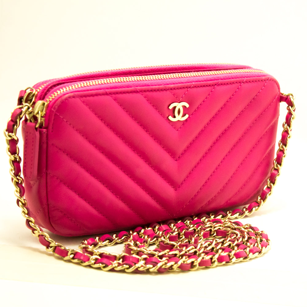 9bdd447535a ... CHANEL Hot Pink Wallet On Chain WOC Double Zip Chain Shoulder Bag m69- Chanel- ...