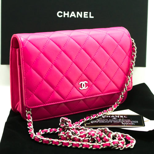 CHANEL Hot Pink Wallet On Chain WOC Shoulder Bag Clutch Lambskin L99