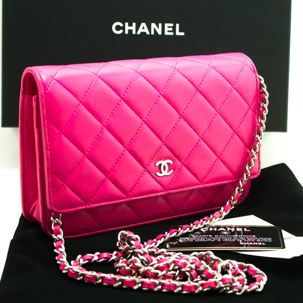 9ca50318332dbf ... CHANEL Hot Pink Wallet On Chain WOC Shoulder Bag Clutch Lambskin L99- Chanel-hannari ...