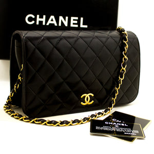 CHANEL Chain Shoulder Bag Clutch Black Quilted Flap Lambskin m59-Chanel-hannari-shop