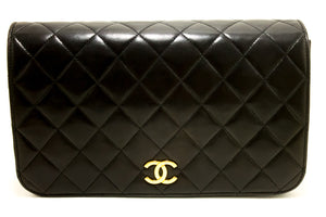 CHANEL Chain Shoulder Bag Clutch Black Quilted Flap Lambskin m59