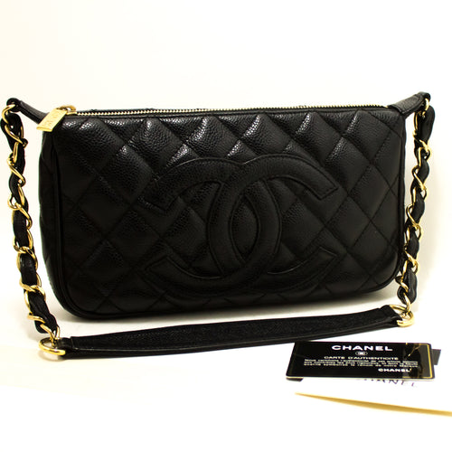CHANEL Caviar Mini Small Chain One Shoulder Bag Black Quilted 2003 m78