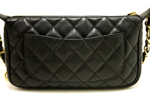CHANEL Caviar Mini Small Chain One Shoulder Bag Black Quilted 2003 m78-Chanel-hannari-shop