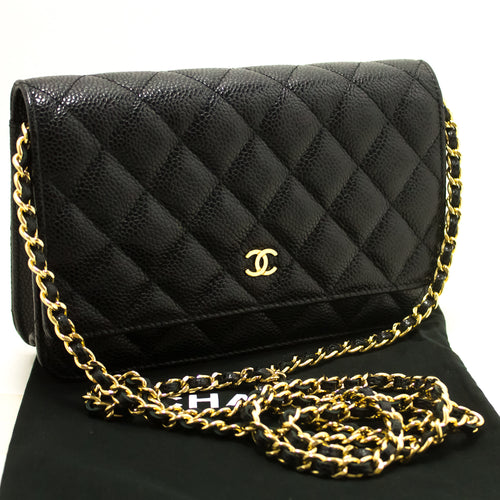 CHANEL Caviar Wallet On Chain WOC Black Shoulder Bag Crossbody m82