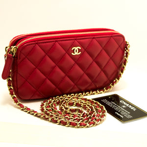 CHANEL Red Wallet On Chain WOC Double Zip Chain ejika apo Ikun m84-Chanel-hannari-shop