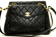 CHANEL Caviar Quilted Chain Shoulder Bag Black Leather Gold Zipper m81-Chanel-hannari-shop