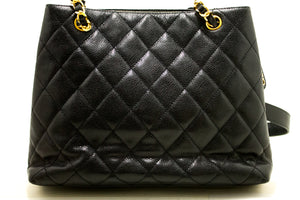 CHANEL Caviar Quilted Chain Shoulder Bag Black Leather Gold Zipper m81