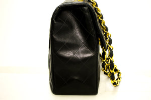 "CHANEL Jumbo 13"" Maxi 2.55 Flap Chain Shoulder Bag Black Lambskin m71"
