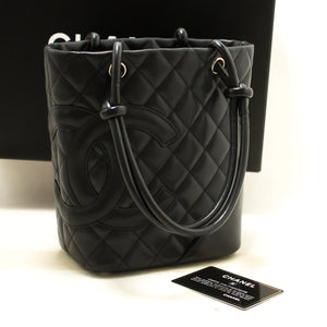 CHANEL Cambon Tote Small Shoulder Bag Black Quilted Calfskin SV m80