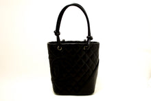 CHANEL Cambon Tote Small Shoulder Bag Black Quilted Calfskin SV m80-Chanel-hannari-shop