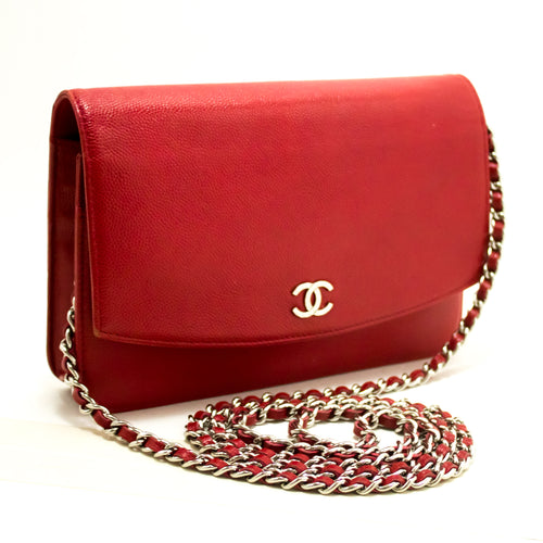 CHANEL Red Caviar Wallet On Chain WOC Shoulder Bag Crossbody n09