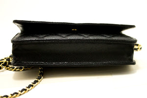 CHANEL Caviar Wallet On Chain WOC Black Shoulder Bag Crossbody m98