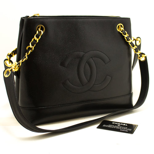 CHANEL Caviar Large Chain Shoulder Bag Black Leather Gold Zipper m96-Chanel-hannari-shop