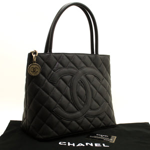 CHANEL Caviar Silver Medallion Shoulder Bag Black Leather Tote m64