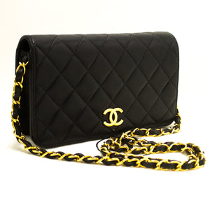 CHANEL Chain Shoulder Bag Clutch Black Quilted Flap Lambskin Purse n15