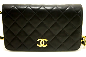CHANEL Chain Shoulder Bag Clutch Black Quilted Flap Lambskin Purse n15-Chanel-hannari-shop