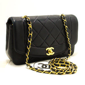 CHANEL Diana Flap Navy Chain Shoulder Bag Crossbody Quilted Lamb n14