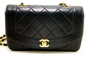 CHANEL Diana Flap Navy Chain Shoulder Bag Crossbody Quilted Lamb n14-Chanel-hannari-shop