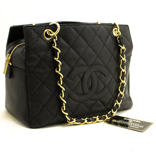 CHANEL Caviar Chain Shoulder Bag Shopping Tote Black Quilted n16