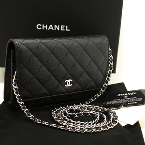 CHANEL Caviar Wallet On Chain WOC Black Shoulder Bag Crossbody m93