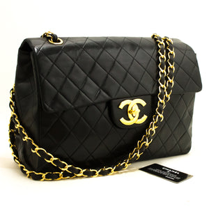 "CHANEL Jumbo 13"" Maxi 2.55 Flap Chain Shoulder Bag Black Lambskin m90"