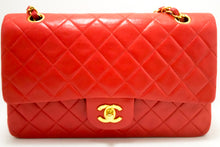 "CHANEL Red 2.55 Double Flap 10"" Chain Shoulder Bag Quilted Lamb n19"