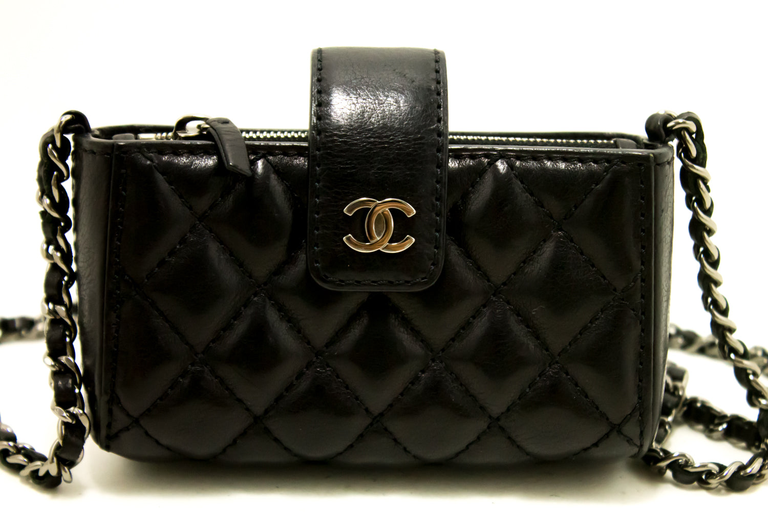 02ff515cc3f1 ... CHANEL Mini Small Chain Shoulder Bag Crossbody Black Quilted Lamb m88  ...