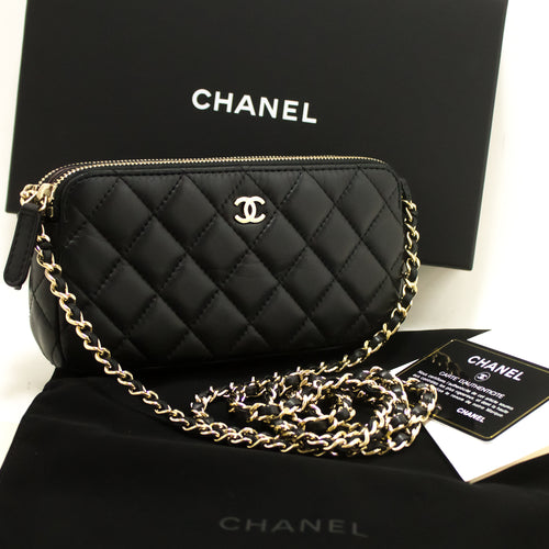 CHANEL Wallet On Chain WOC Double Zip Chain Shoulder Bag Black n07