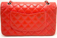 CHANEL Red Punching Leather Double Flap Chain Shoulder Bag Quilted n32-Chanel-hannari-shop