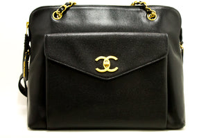 CHANEL Caviar Large Chain Shoulder Bag Black Leather Gold Hardware n04-Chanel-hannari-shop
