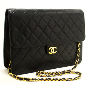 CHANEL Chain Shoulder Bag Clutch Black Quilted Flap Lambskin n40-Chanel-hannari-shop