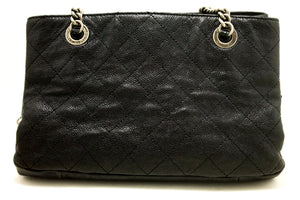 CHANEL Soft Caviar Chain Shoulder Bag Black Leather Silver Zipper n47-Chanel-hannari-shop