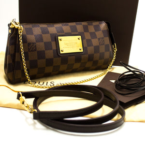 Louis Vuitton Eva Ebene Damier Canvas Shoulder Bag Handbag Gold n43