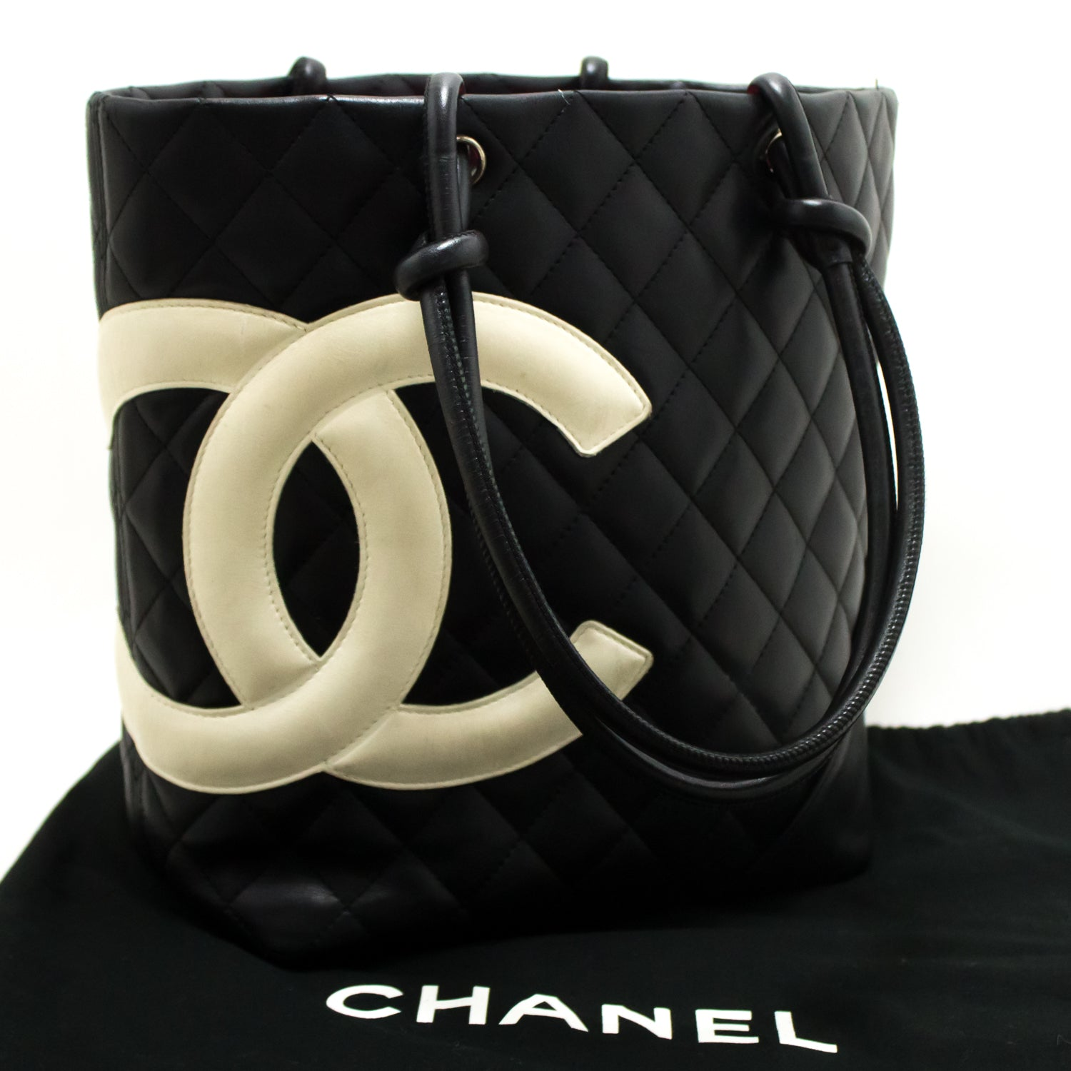 1455331b63df ... CHANEL Cambon Tote Small Shoulder Bag Black White Quilted Calfskin m95- Chanel-hannari- ...