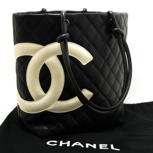 CHANEL Cambon Tote Small Shoulder Bag Black White Quilted Calfskin m95