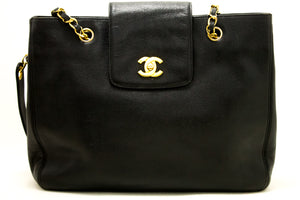 CHANEL Caviar Jumbo Large Chain Shoulder Bag Black Leather Gold n03-Chanel-hannari-shop
