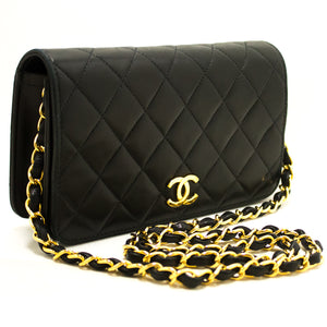 CHANEL Small Chain Shoulder Bag Clutch Black Quilted Flap Lambskin n31