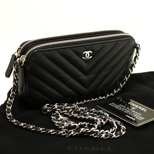 CHANEL Caviar V-stitch Wallet On Chain WOC Chain Shoulder Bag n50