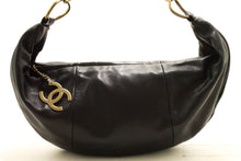 CHANEL Half Moon Lambskin Chain Shoulder Bag Black Leather Zipper n12
