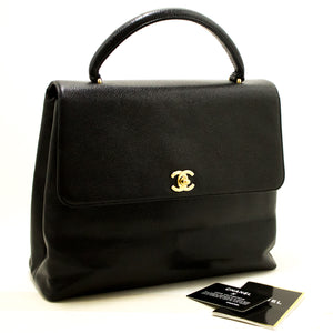 CHANEL Kelly Caviar Handbag Bag Black Flap Leather Gold Hardware n26