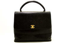 CHANEL Kelly Caviar Handbag Bag Black Flap Leather Gold Hardware n26-Chanel-hannari-shop