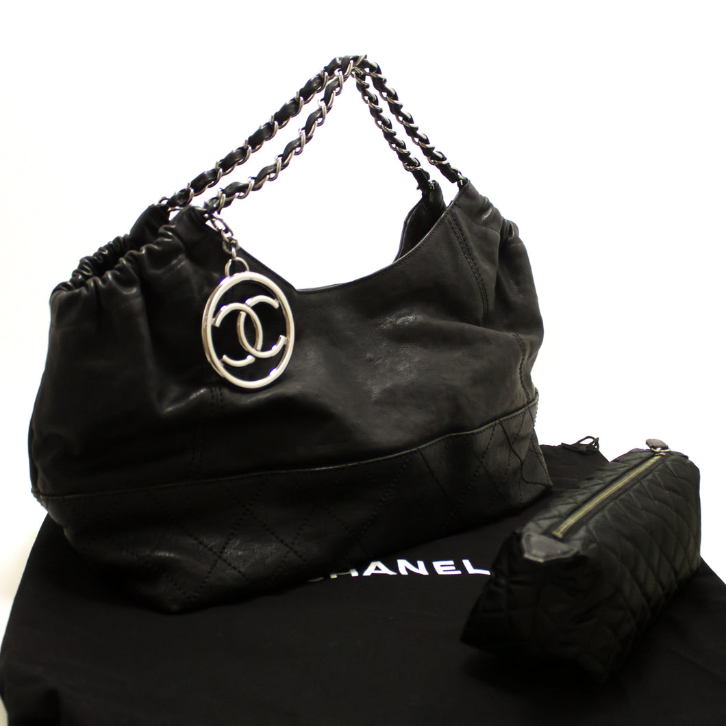 CHANEL Coco Cabas Calfskin Chain Shoulder Bag Black Quilted SV n41-Chanel-hannari-shop