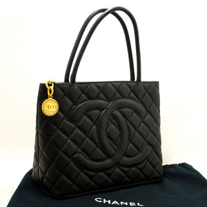 CHANEL Gold Medallion Caviar Shoulder Bag Shopping Tote Black n02-Chanel-hannari-shop