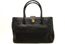 CHANEL Executive Tote Caviar Shoulder Bag Handbag Black Gold n18