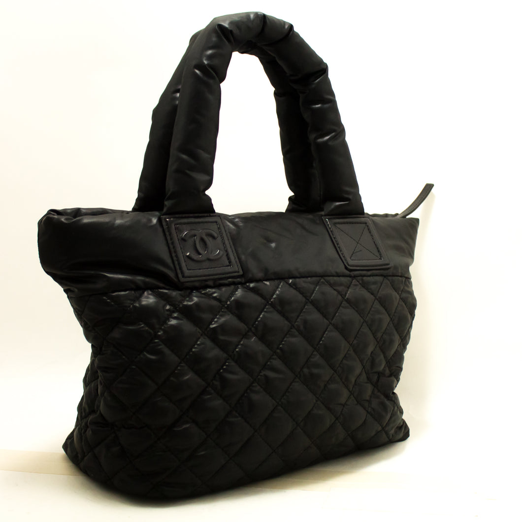 CHANEL Coco Cocoon Nylon Large Tote Bag Black Bordeaux Reversible n52-Chanel-hannari-shop
