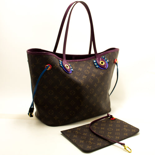 Louis Vuitton Auth Monogram Totem Neverfull MM Magenta M41664 Bag tal-Ispalla n37-Louis-Vuitton-hannari-shop
