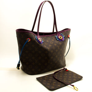 Louis Vuitton Auth Monogram Totem Neverfull MM Magenta M41664 китфи халта n37-Louis Vuitton-hannari-мағозаи