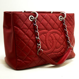 "CHANEL Red Caviar GST 13"" Grand Shopping Tote Chain Shoulder Bag n20"